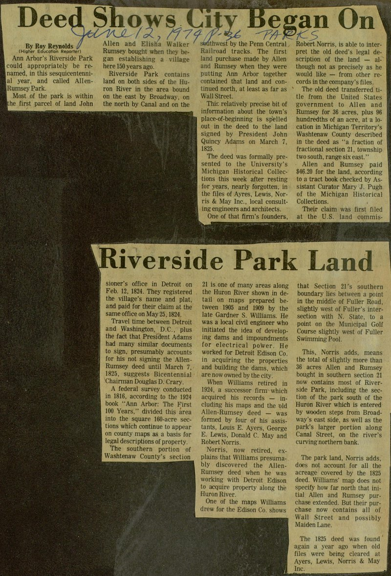 Deed Shows City Began On Riverside Park Land image