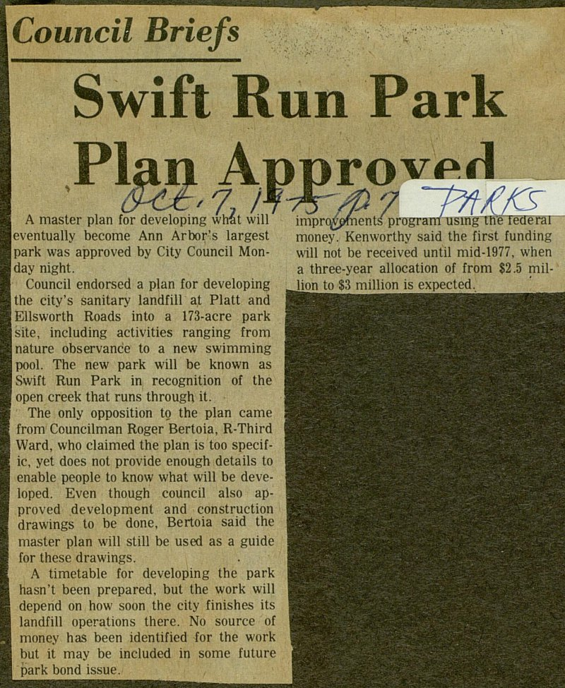 Swift Run Park Plan Approved image