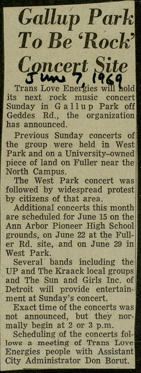Gallup Park To Be 'Rock' Concert Site image