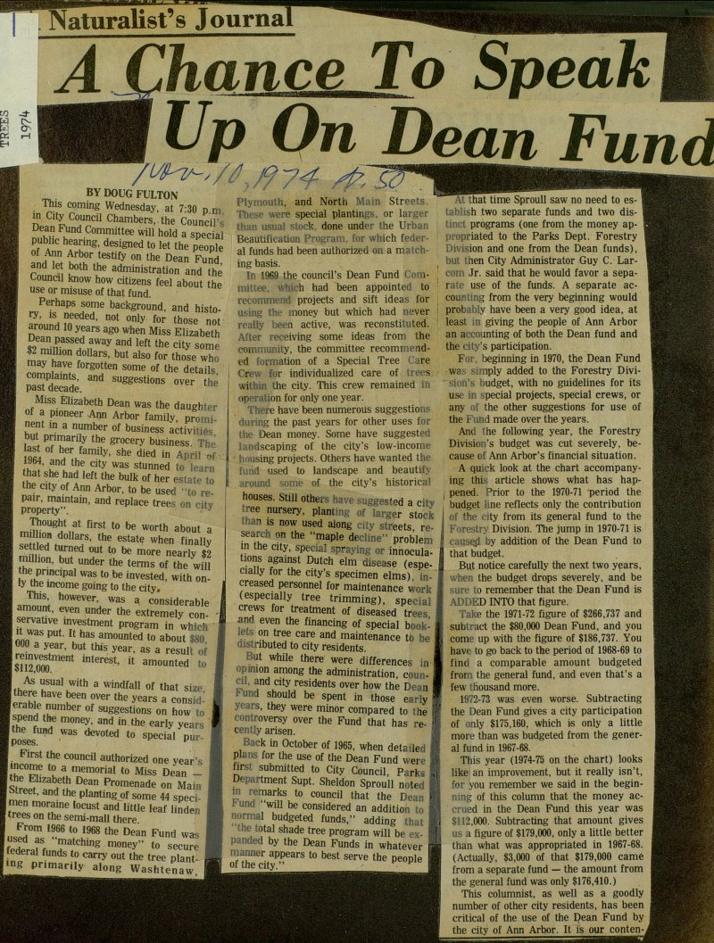 A Chance To Speak Up On Dean Fund image