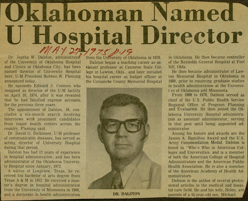 Oklahoman Named U Hospital Director image