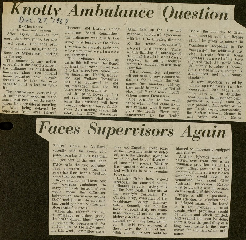 Knotty Ambulance Question Faces Supervisors Again image