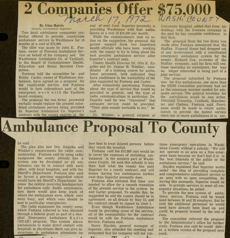 2 Companies Offer $75,000 Ambulance Proposal To County  image