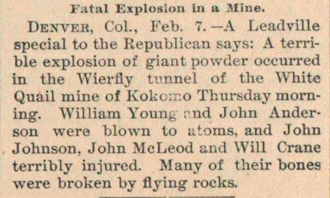Fatal Explosion In A Mine image