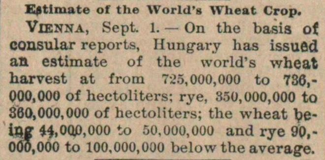 Estimate Of The World's Wheat Crop image