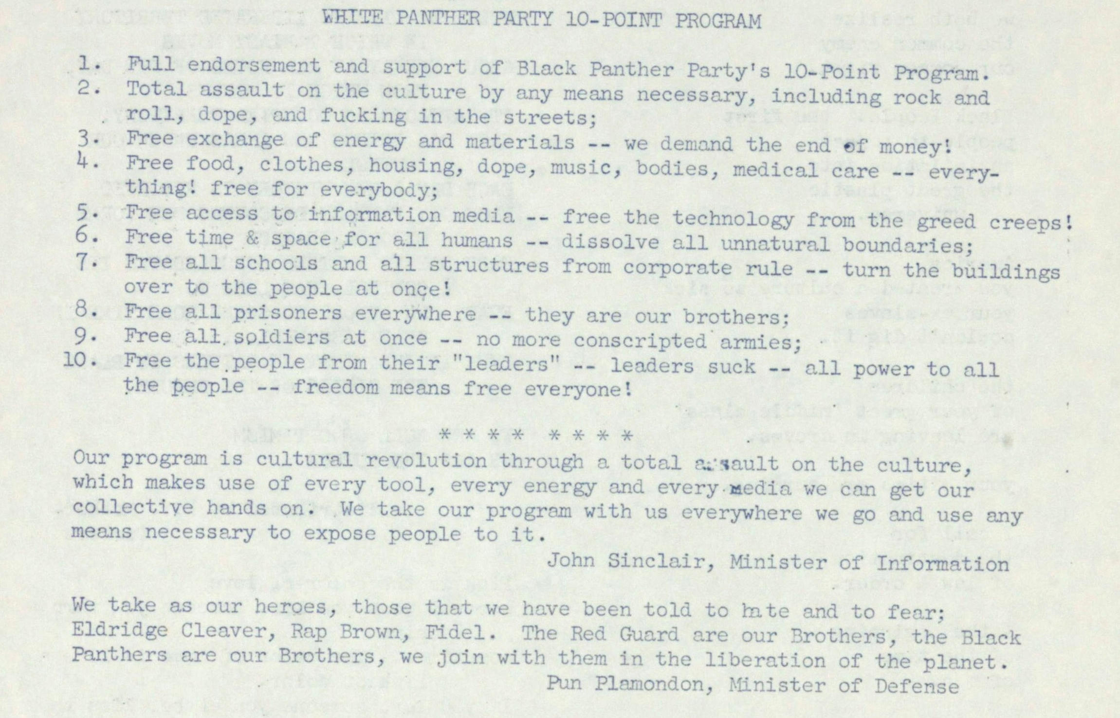 White Panther Party 10-point Program image