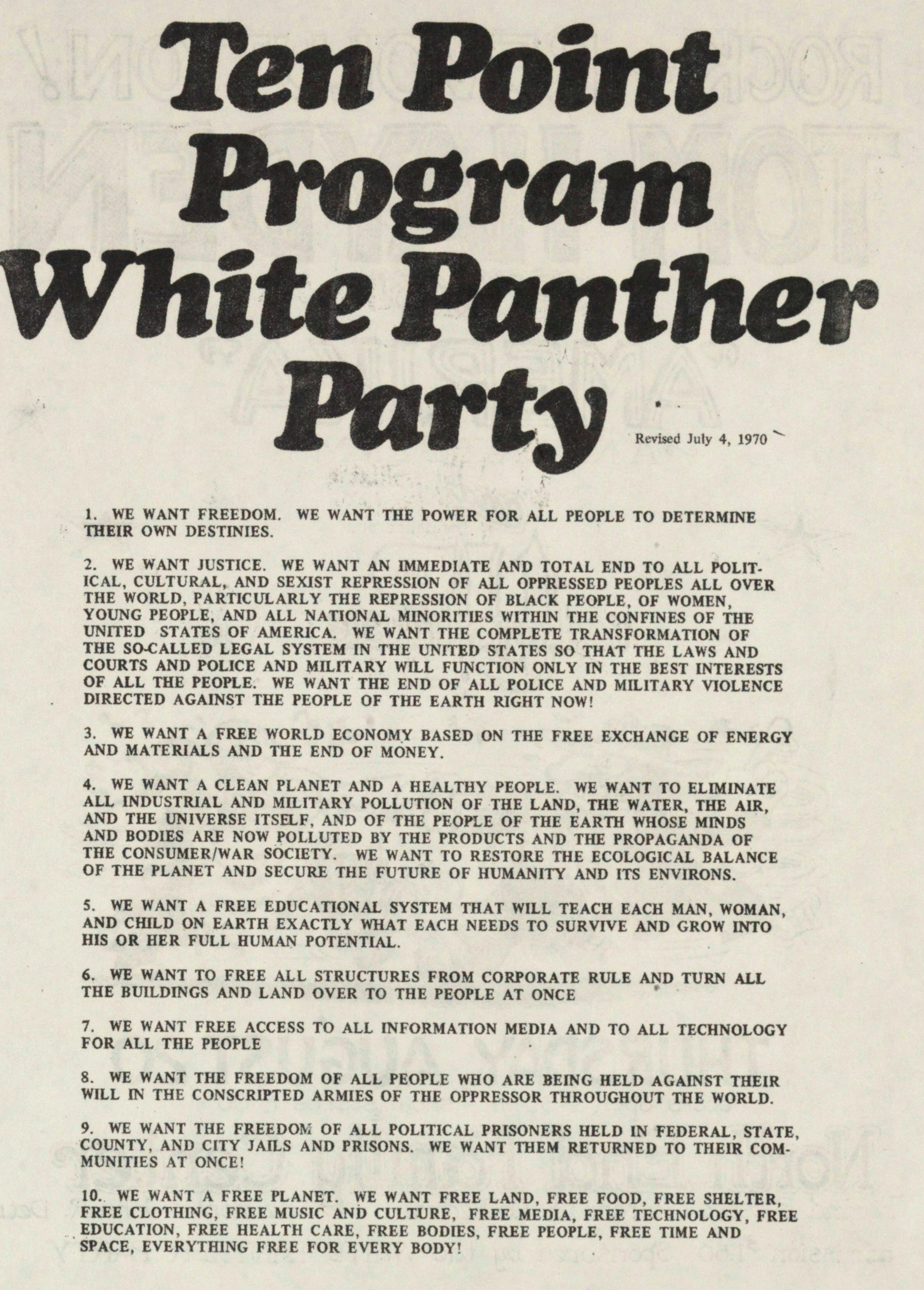Ten Point Program White Panther Party image