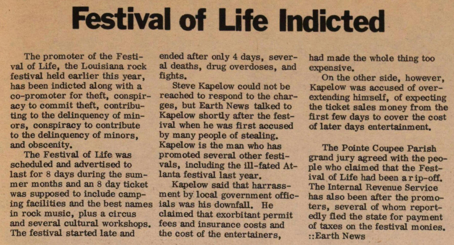 Festival Of Life Indicted image