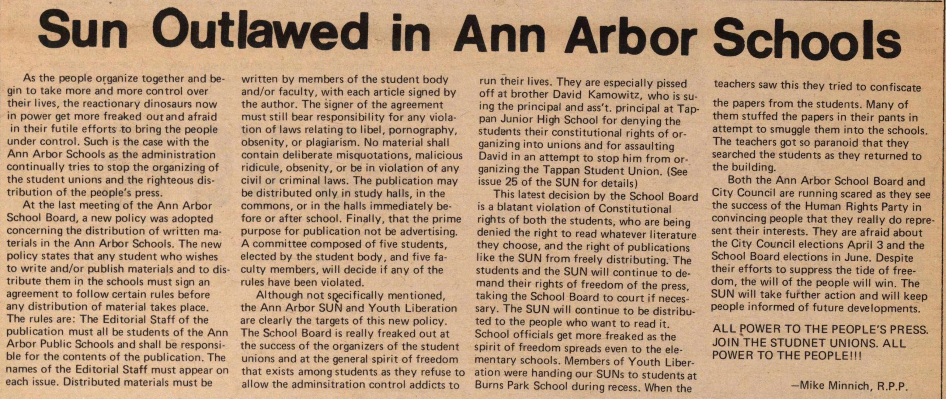 Sun Outlawed In Ann Arbor Schools image