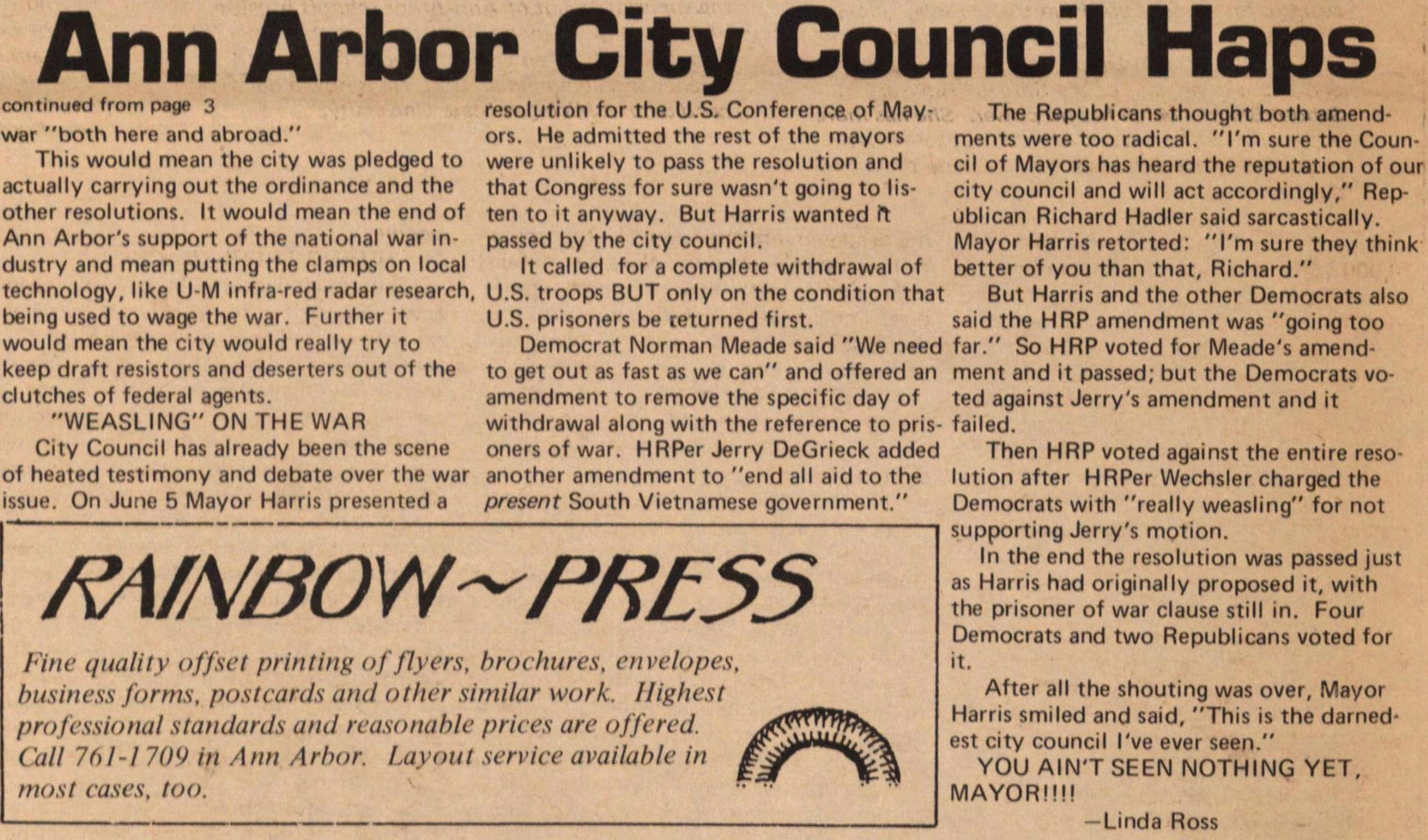 Ann Arbor City Council Haps continued fr... image