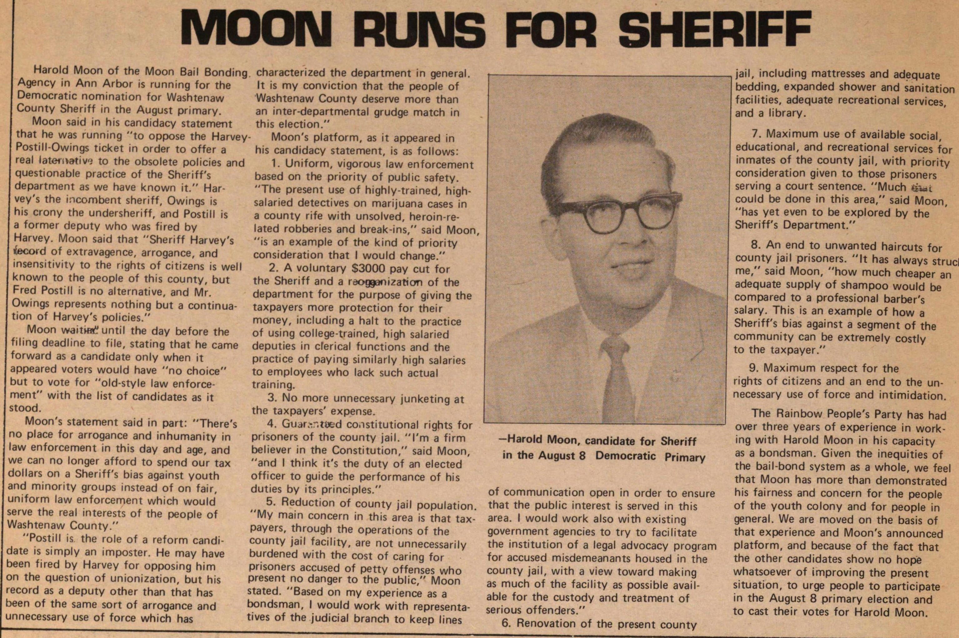 Moon Runs For Sheriff image