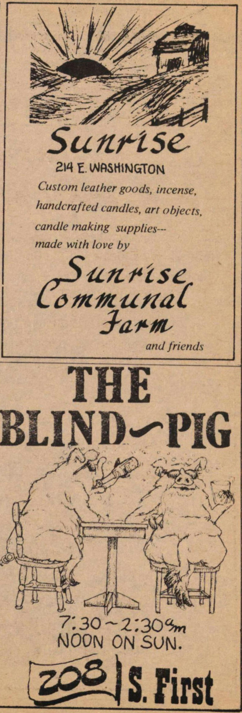 Sunrise Communal Farm, Blind Pig ads image