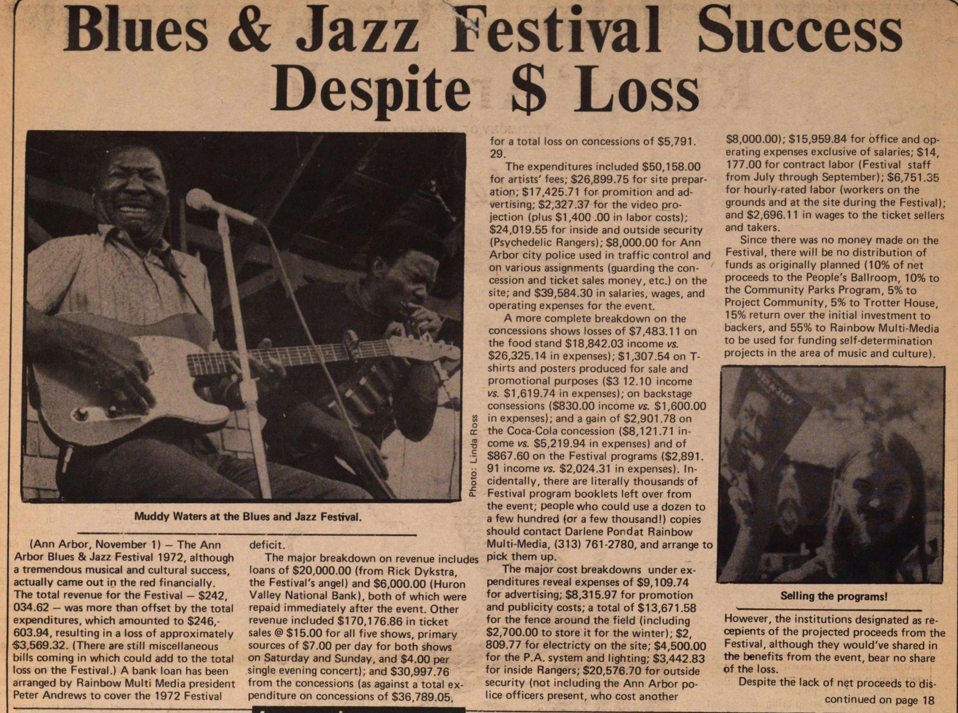 Blues & Jazz Festival Success Despite $ Loss image