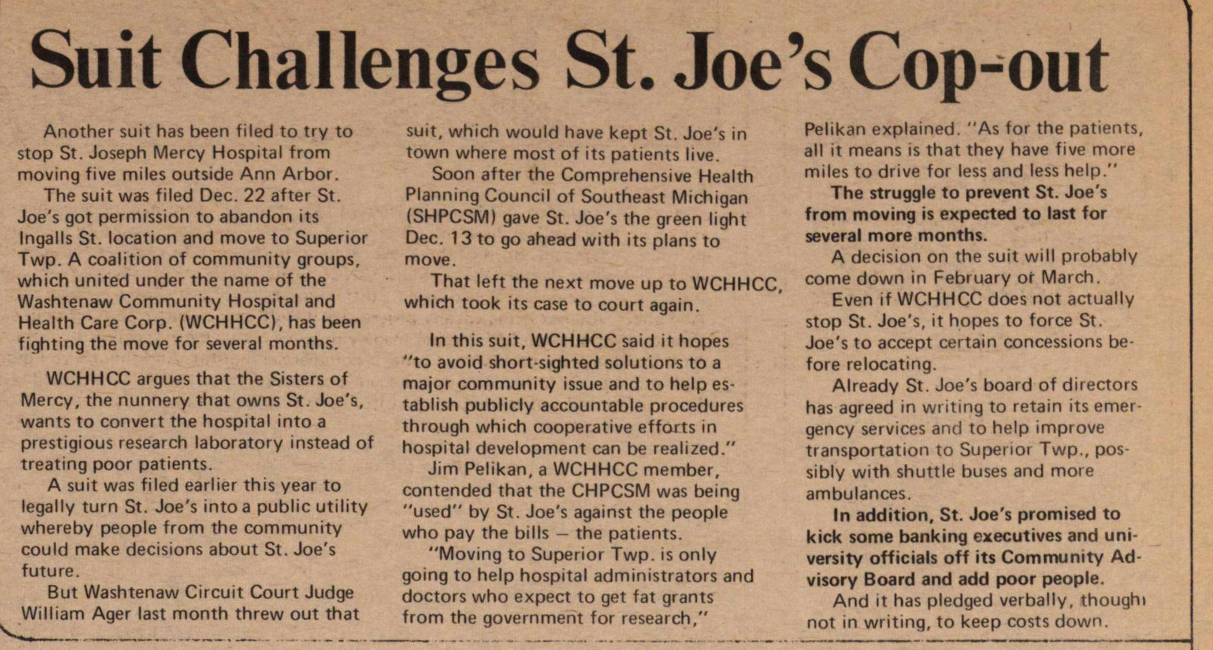 Suit Challenges St. Joe's Cop-out image