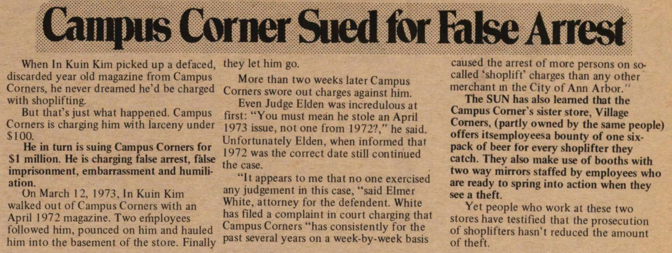 Campus Corner Sued For False Arrest image