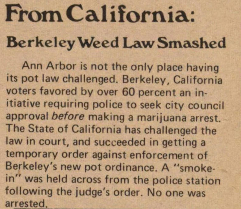 From California: Berkeley Weed Law Smashed image