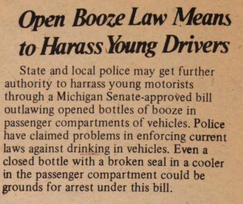 Open Booze Law Means To Harass Young Drivers image