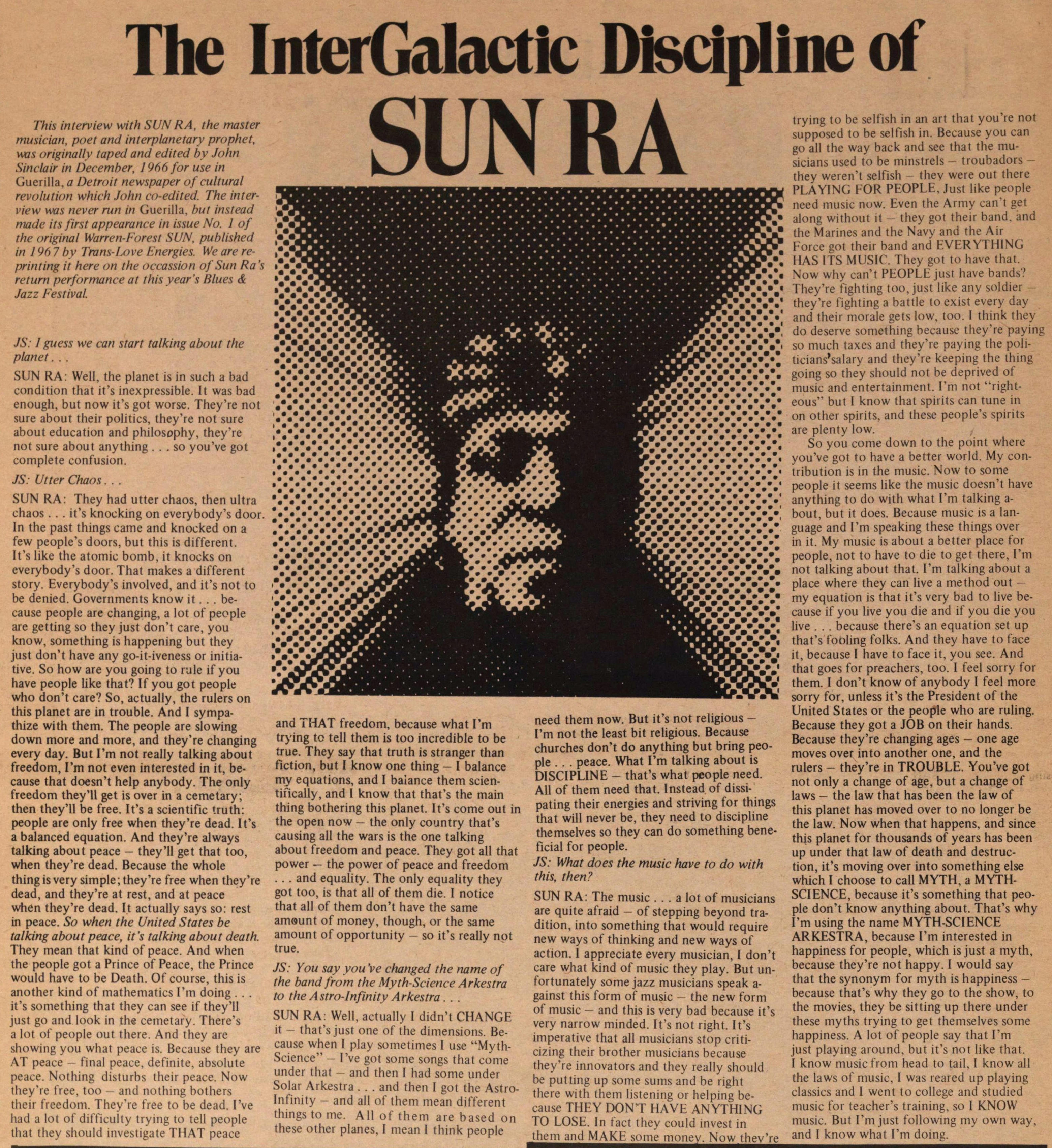 The Intergalactic: Discipline Of Sunra image