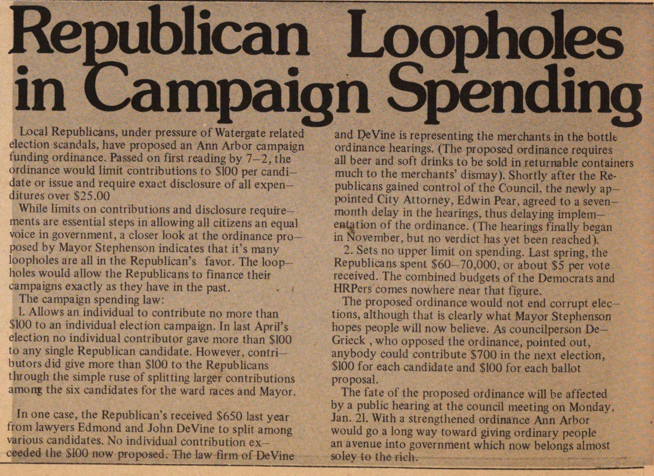 Republican Loopholes In Campaign Spending image
