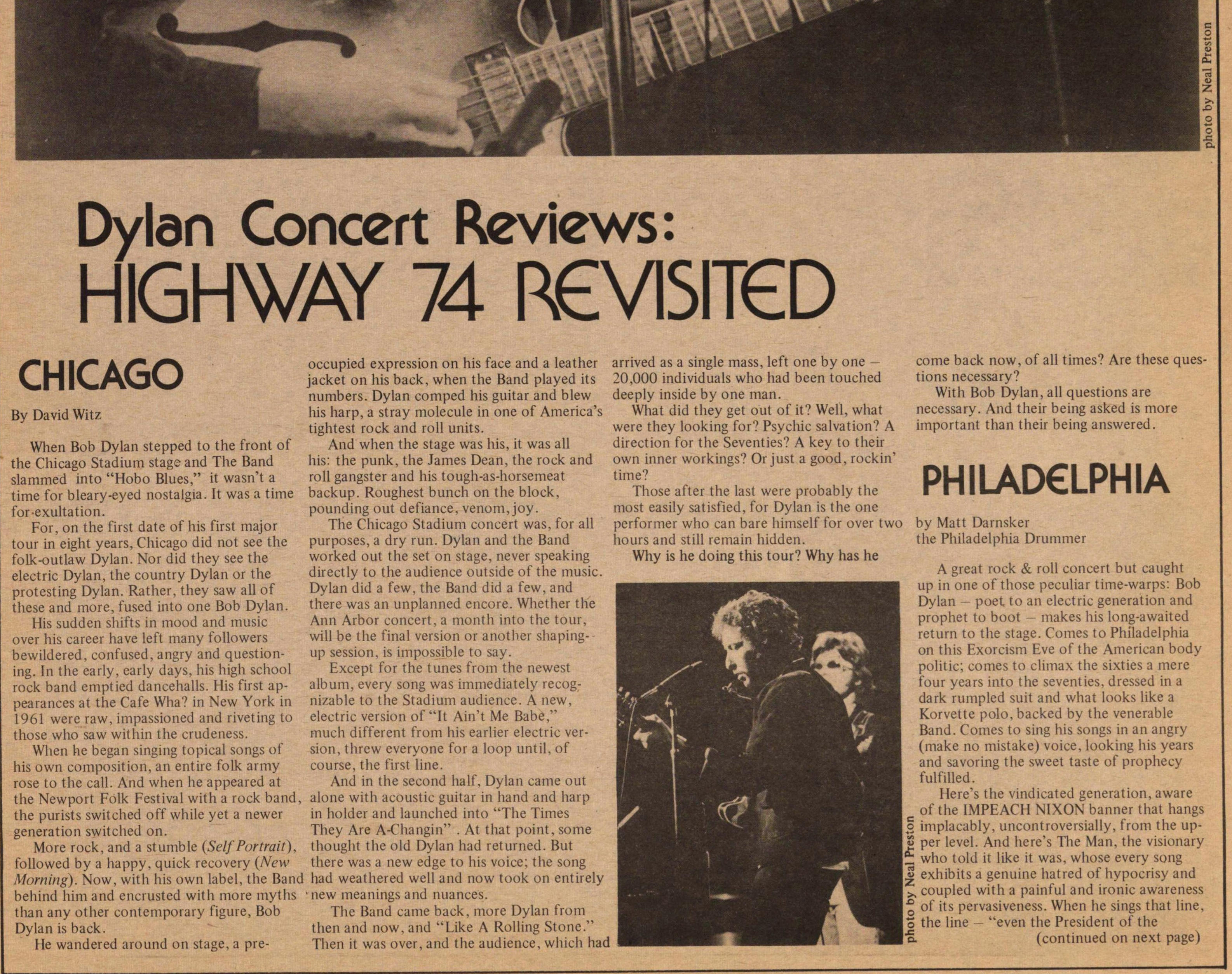 Dylan Concert Reviews: Highway 74 Revisited image