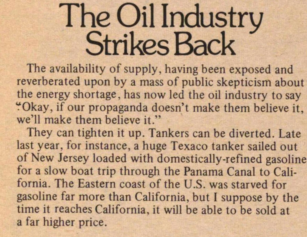 The Oil Industry Strikes Back image