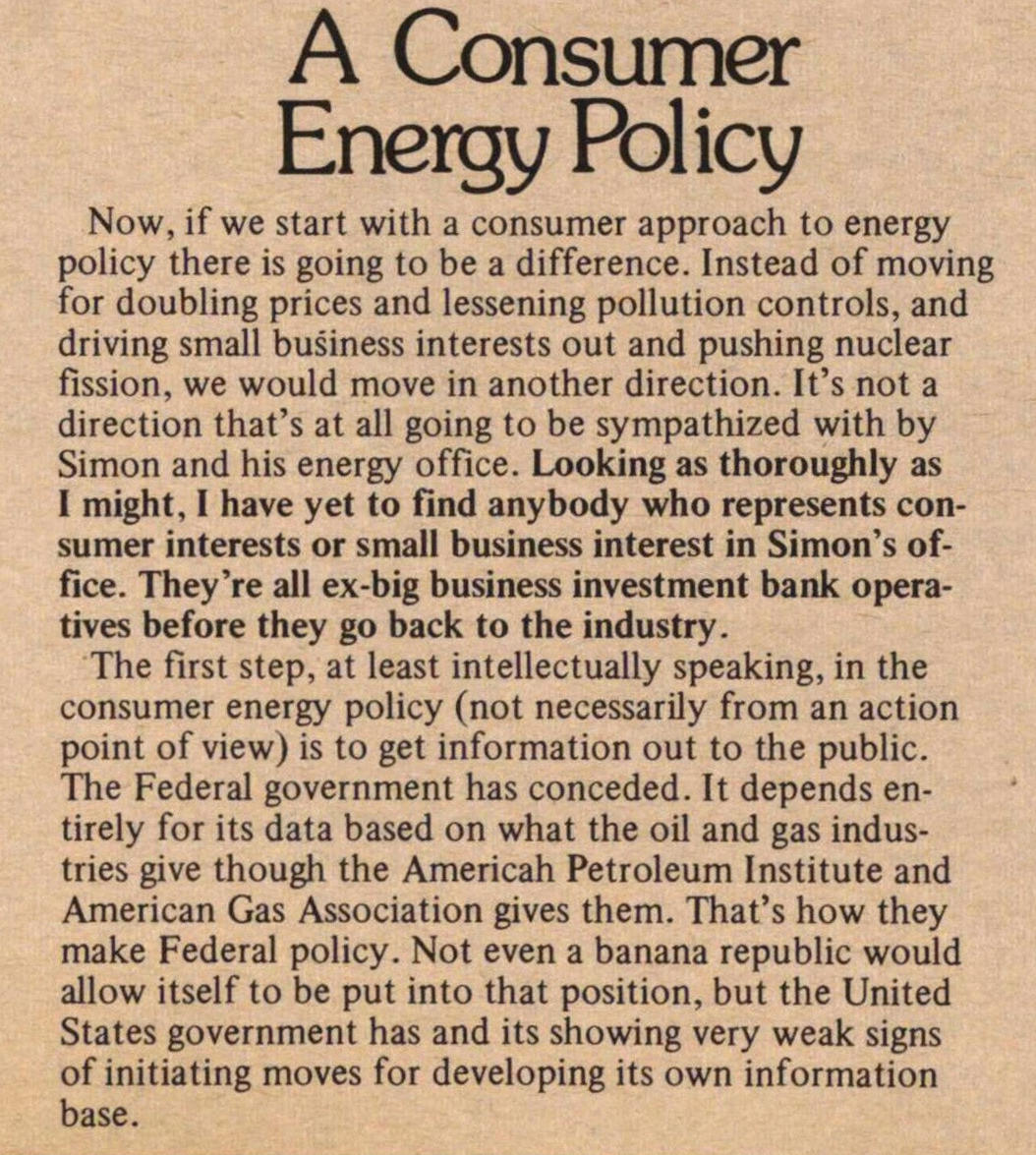 A Consumer Energy Policy image