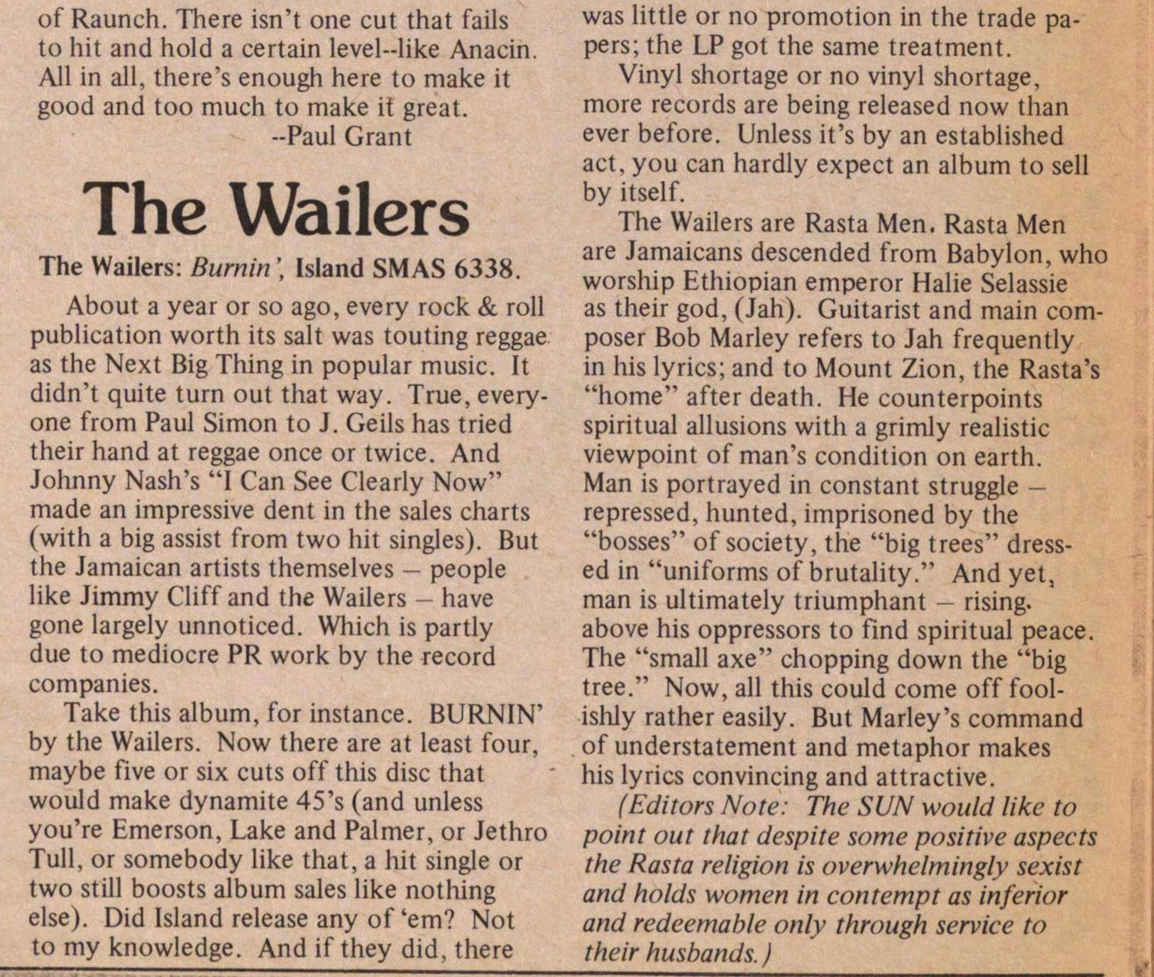 Records - The Wailers image