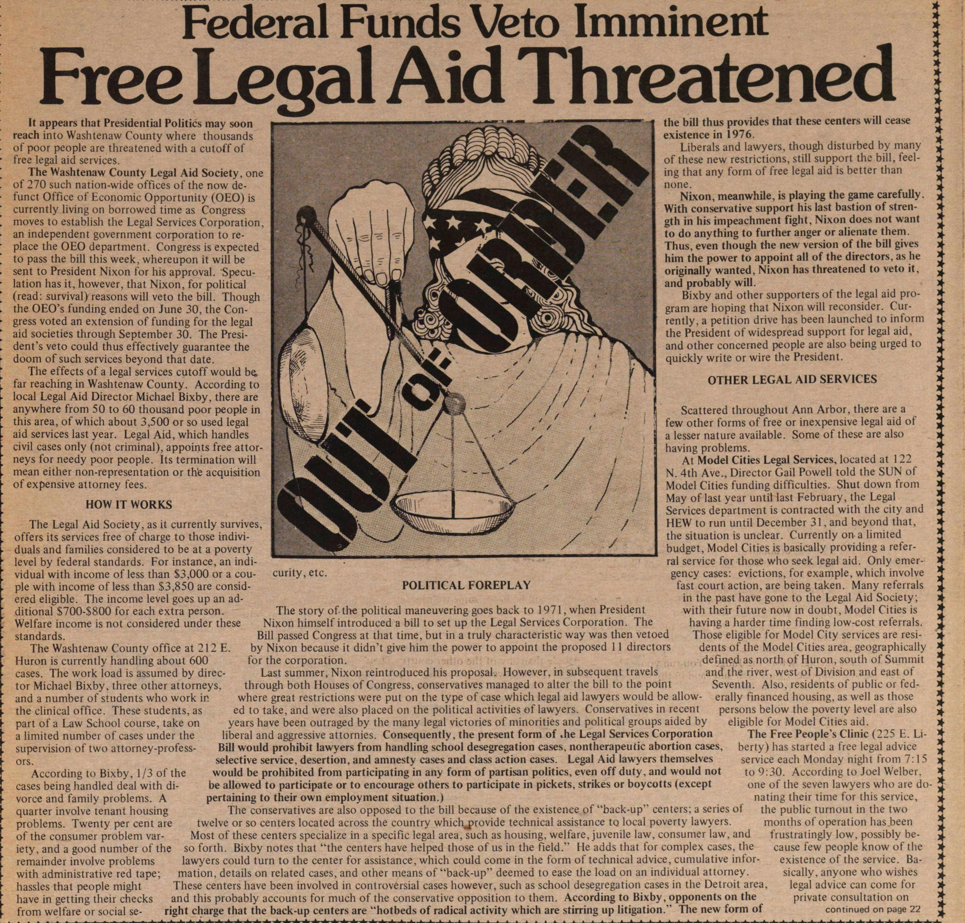 Federal Funds Veto Imminent Free Legal Aid Threatened image