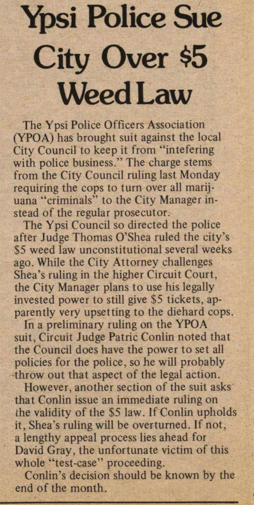 Ypsi Police Sue City Over $5 Weed Law image