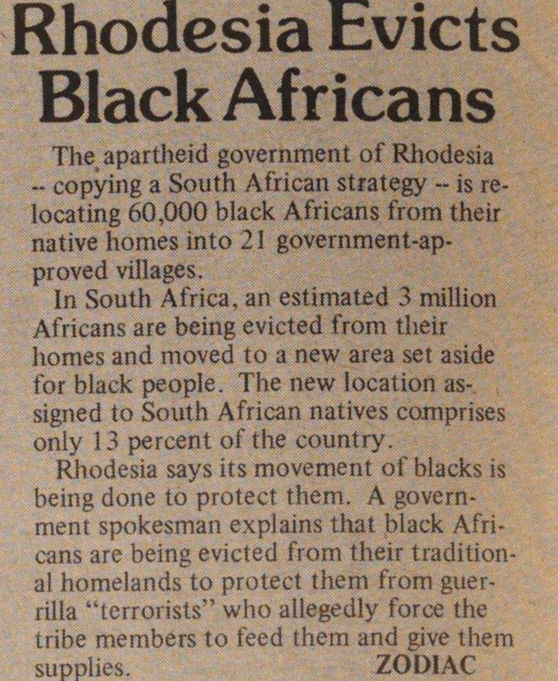 Rhodesia Evicts Black Africans image