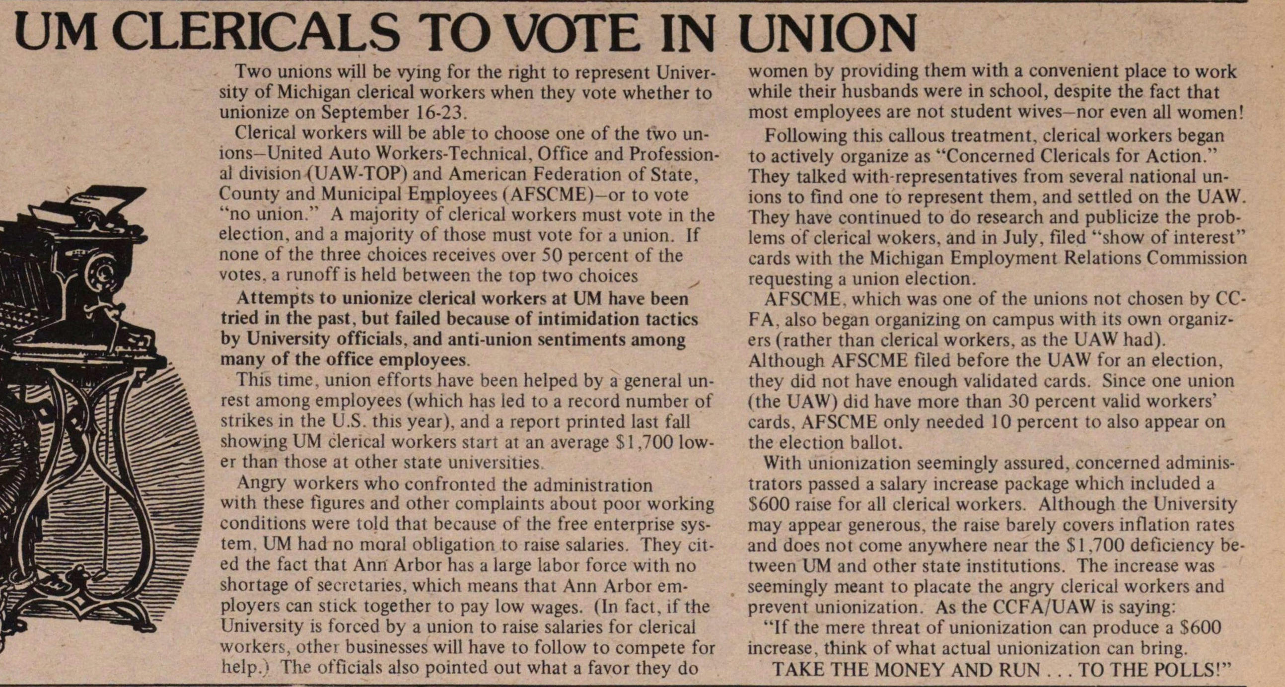 Um Clericals To Vote In Union image