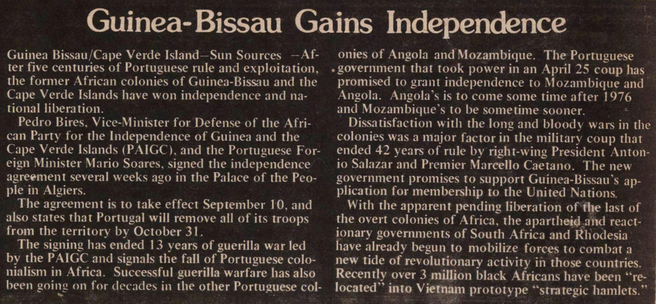 Guinea-bissau Gains Independence image
