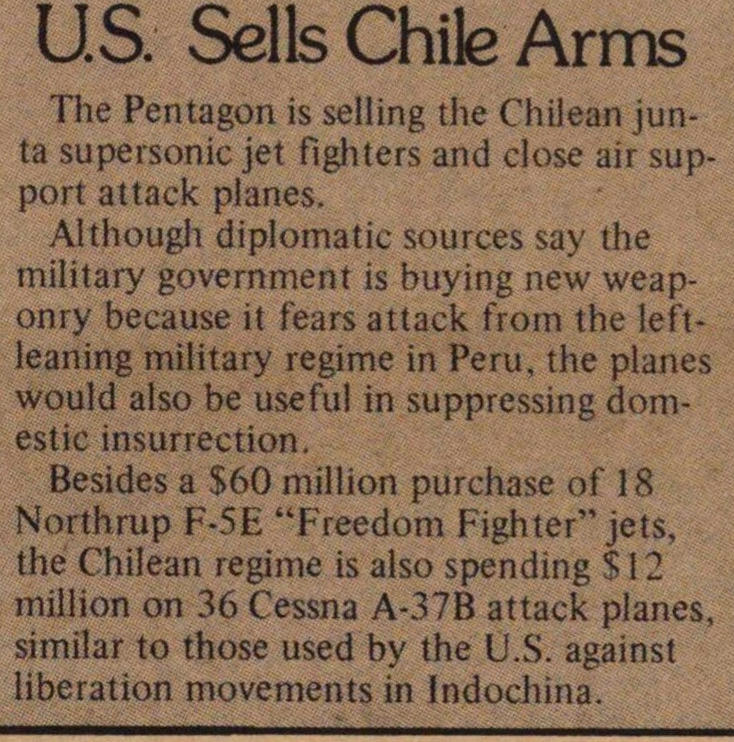 U.s. Sells Chile Arms image