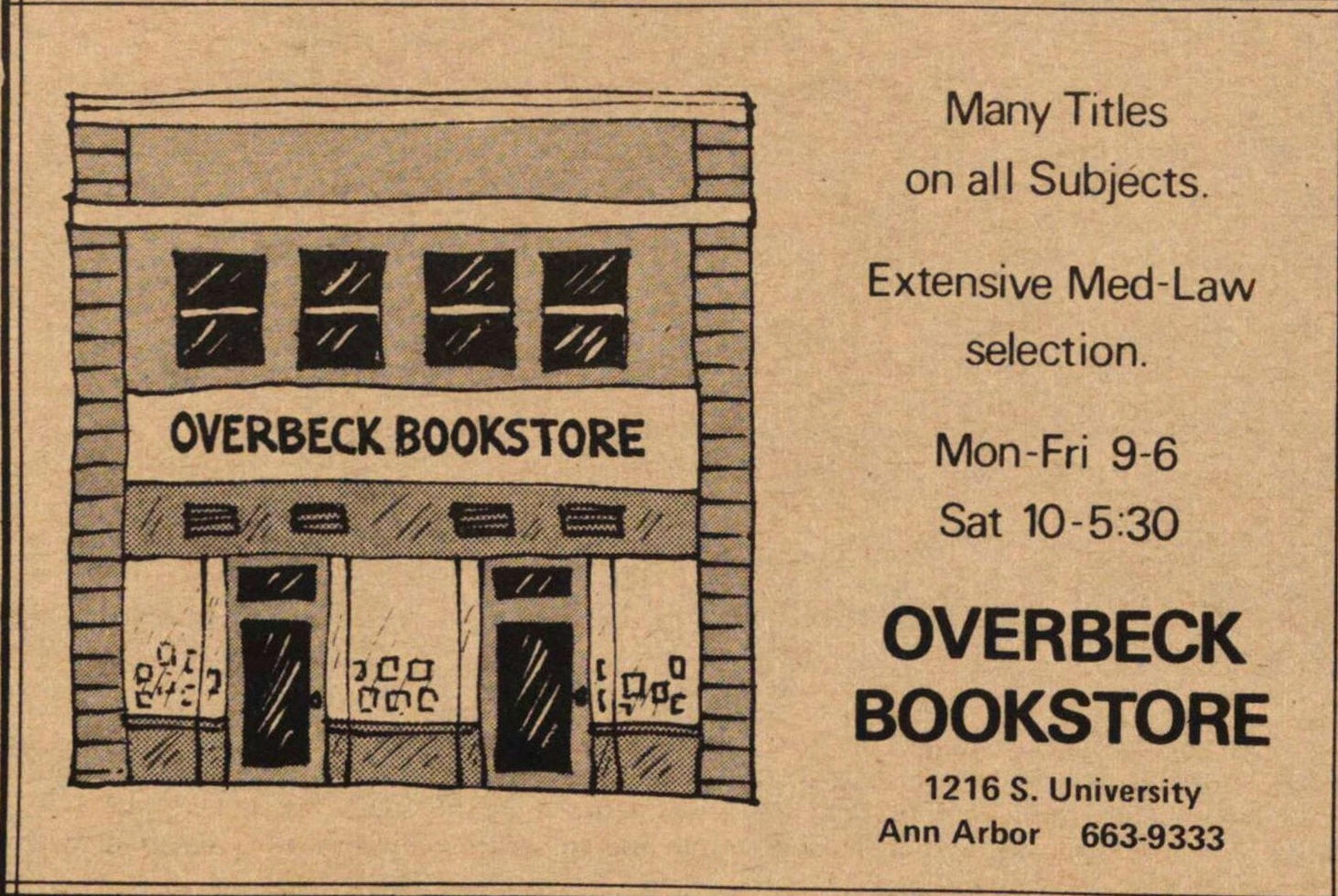 Overbeck Bookstore image