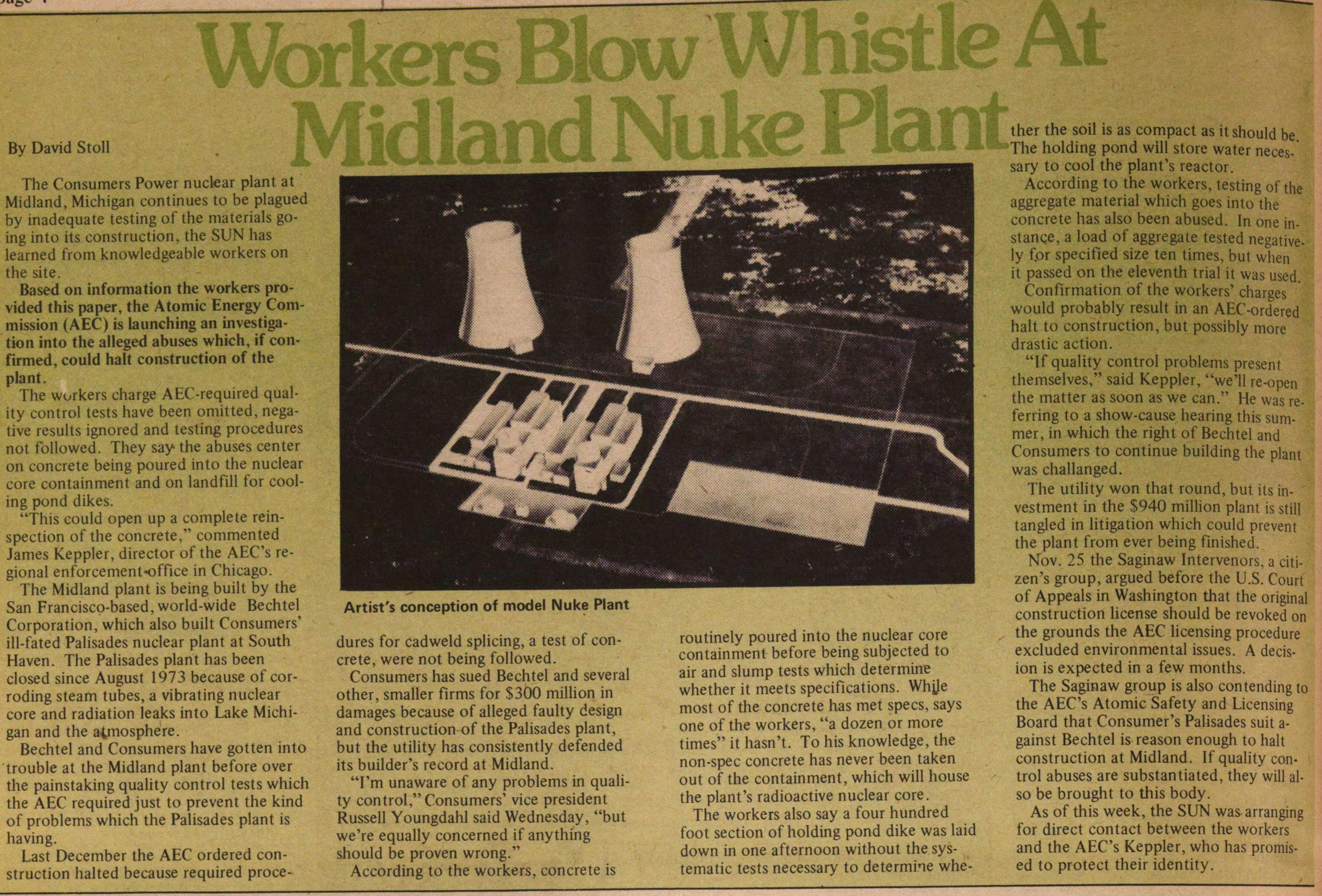 Workers Blow Whistle At Midland Nuke Plant image