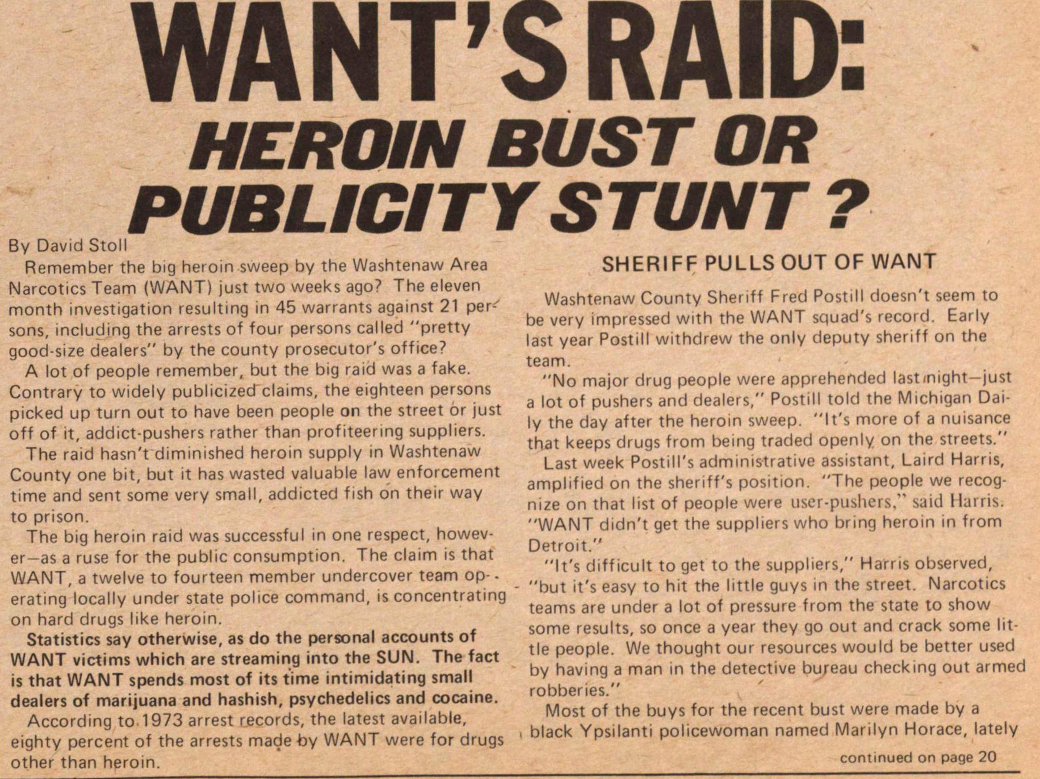 Want's Raid: Heroin Bust Or Publicity Stunt? image