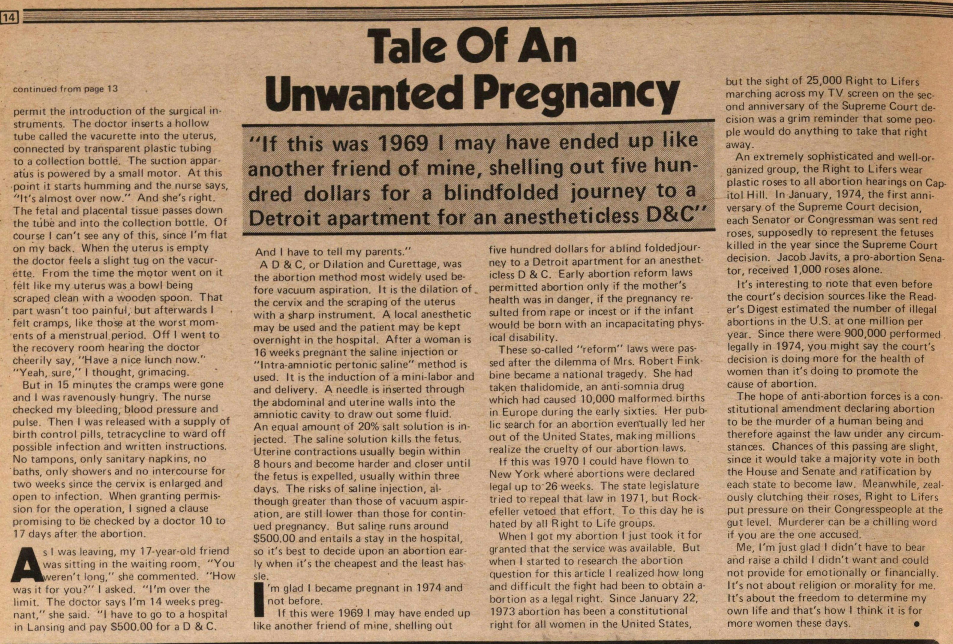 Tale Of An Unwanted Pregnancy image