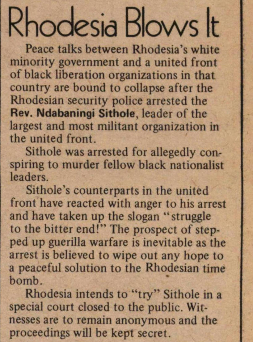 Rhodesia Blows It image