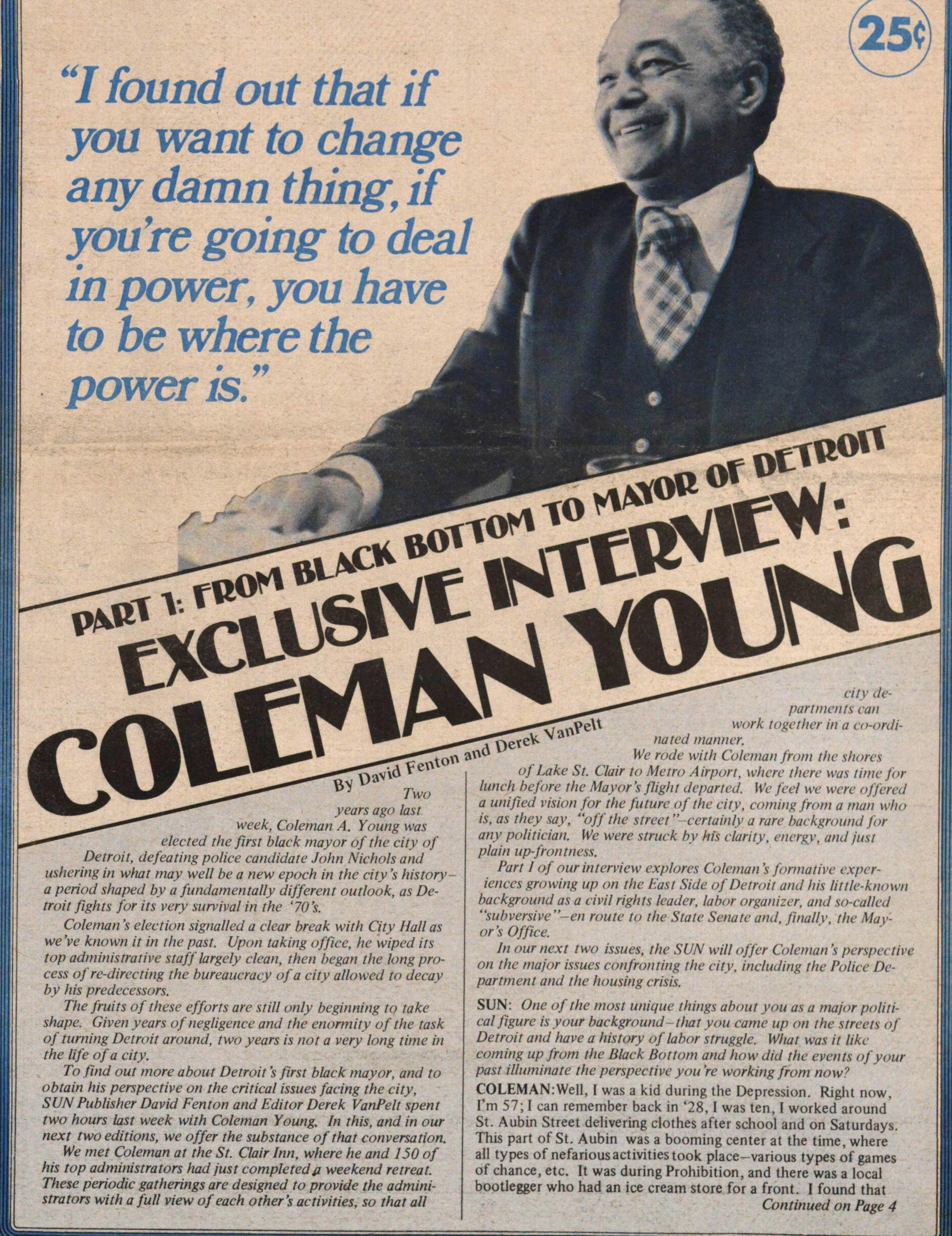 Part 1: From Black Bottom To Mayor Of Detroit Exclusive Interview: Coleman Young image