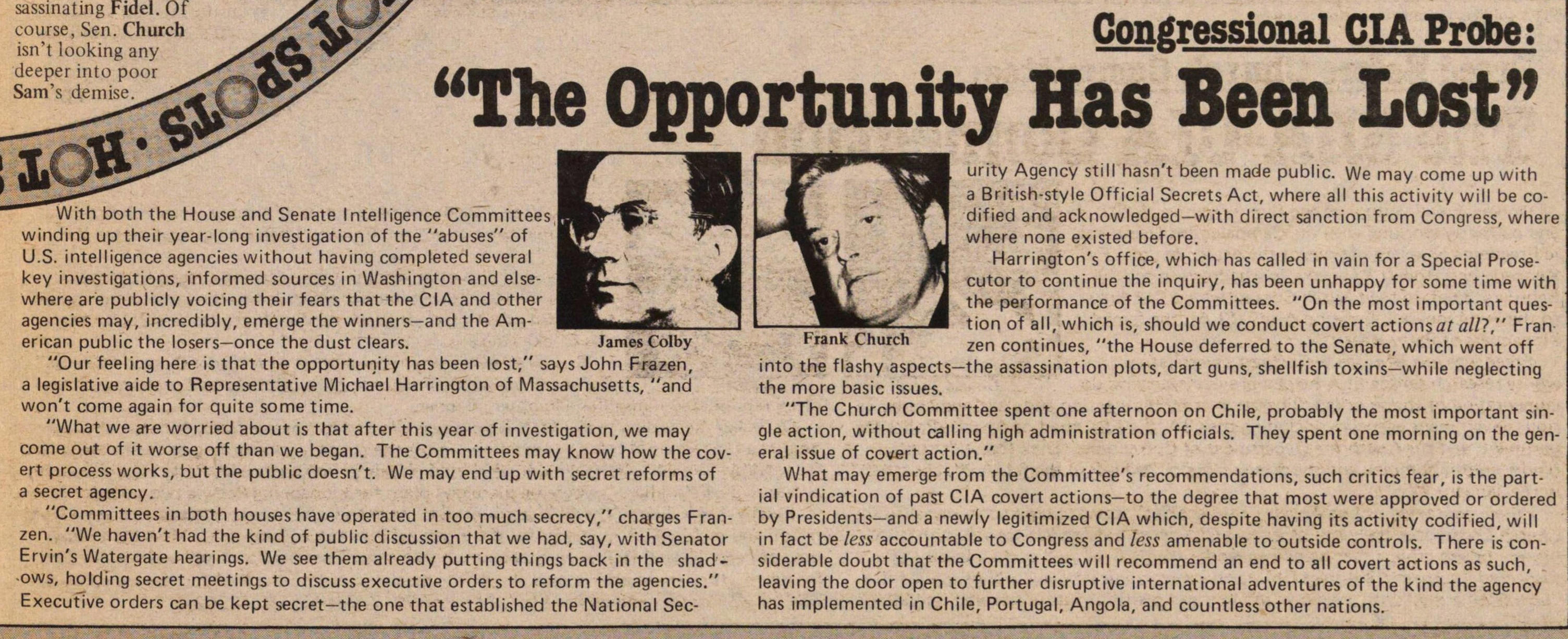 "Congressional Cia Probe ""the Opportunity Has Been Lost"" image"