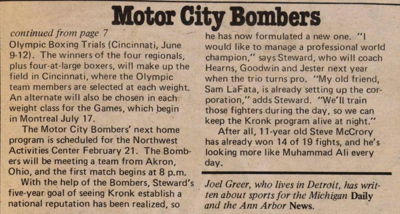 The Motor City Bombers Off The Streets And Olympic Bound image