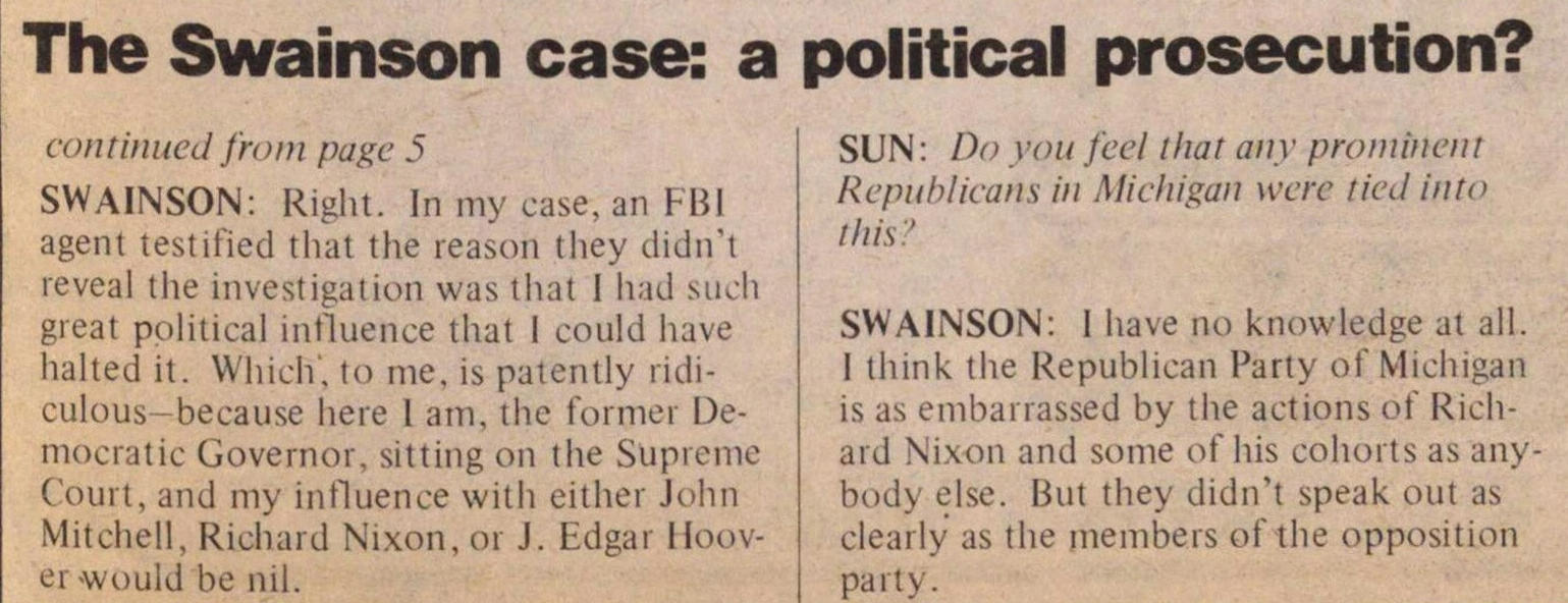 The Swainson Case: A Political Prosecution? image