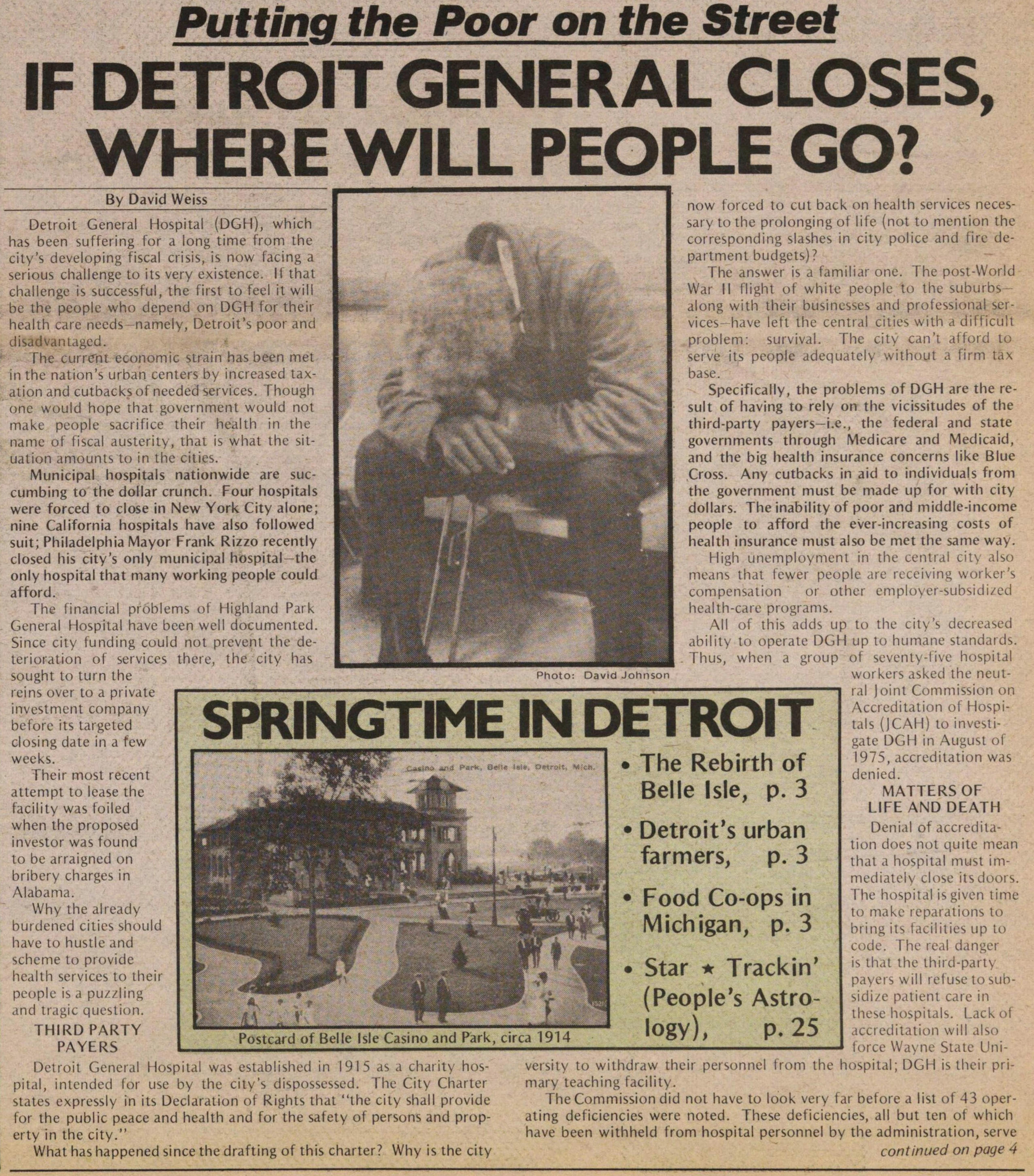 Putting The Poor On The Street If Detroit General Closes Where Will People Go Ann Arbor District Library
