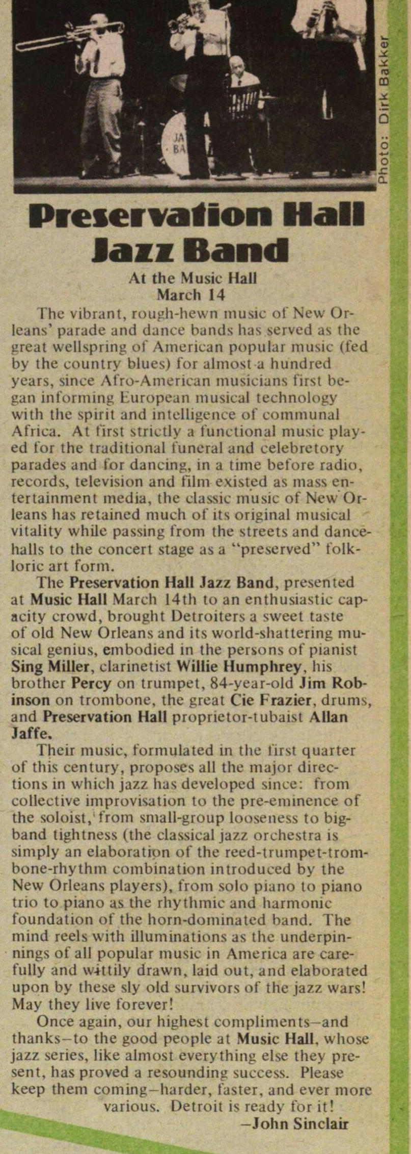 Preservation Hall Jazz Band At The Music Hall March 14 image