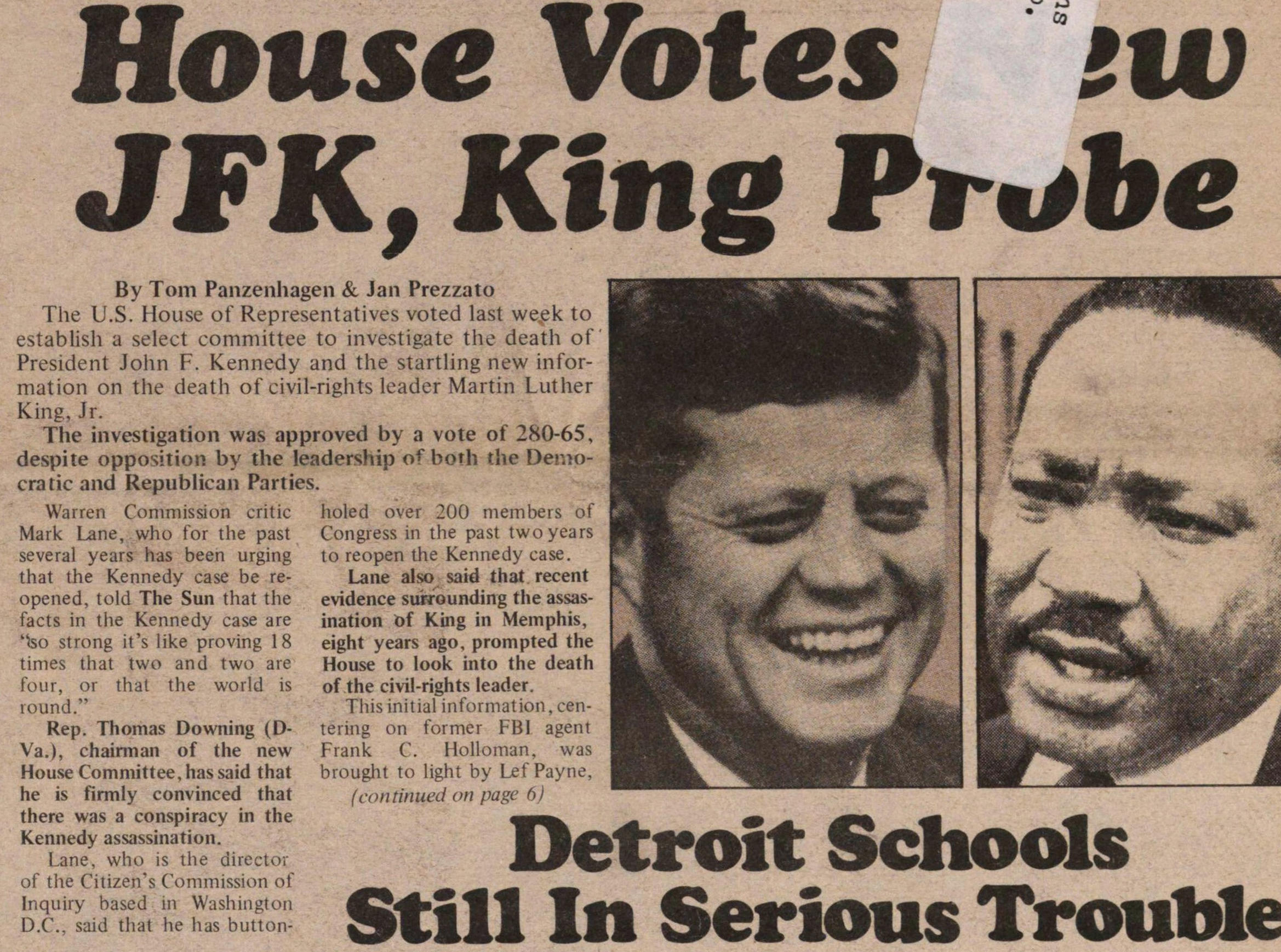 House Votes New Jfk, King Probe image