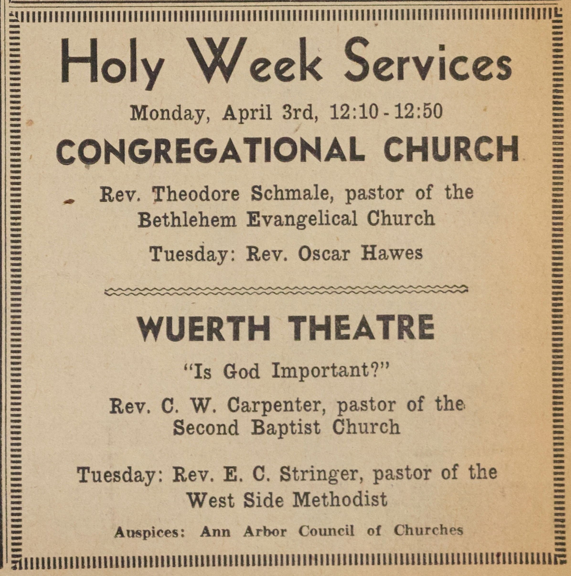 Holy Week Services, April 1944 image