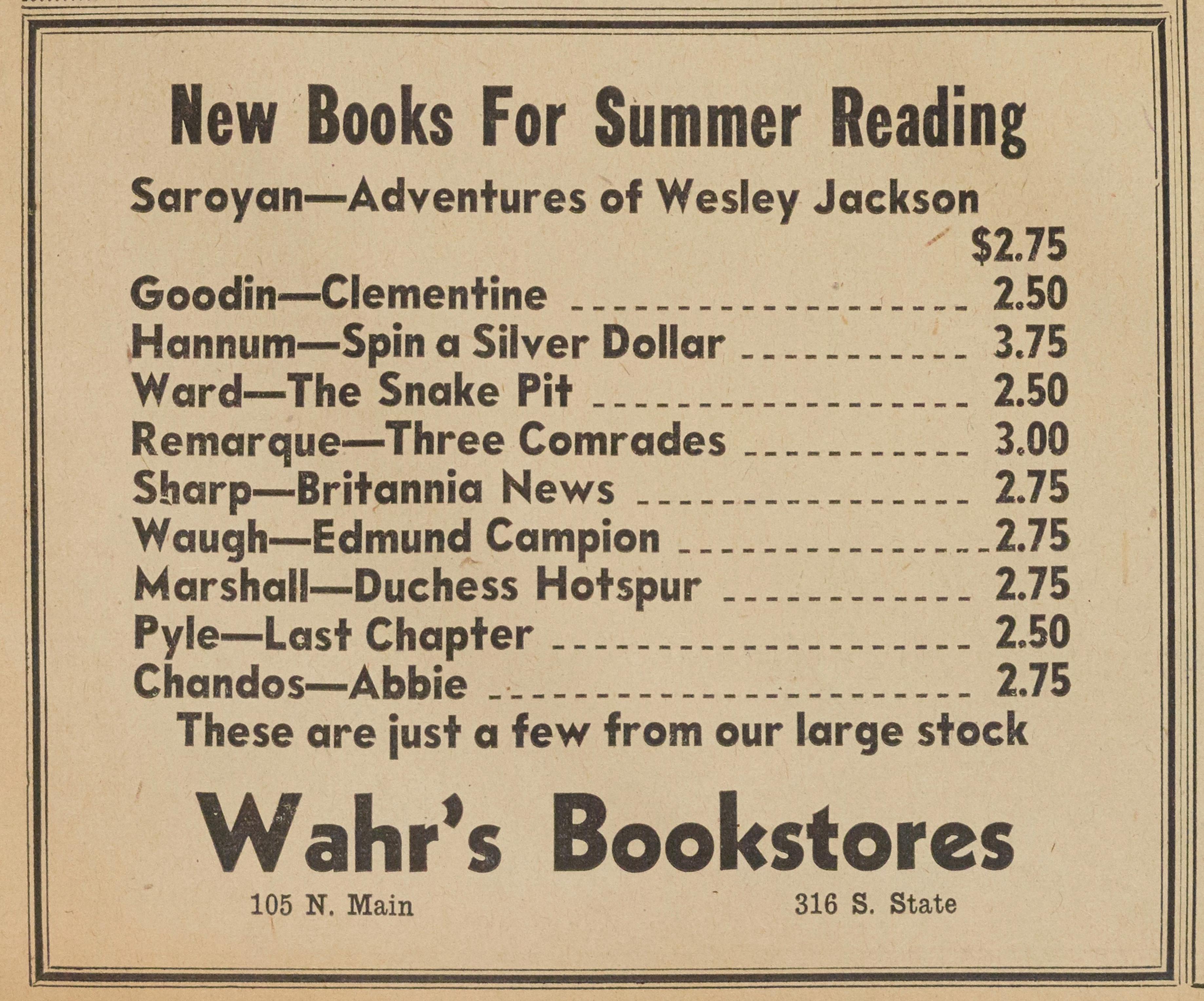 Wahr's Bookstores image