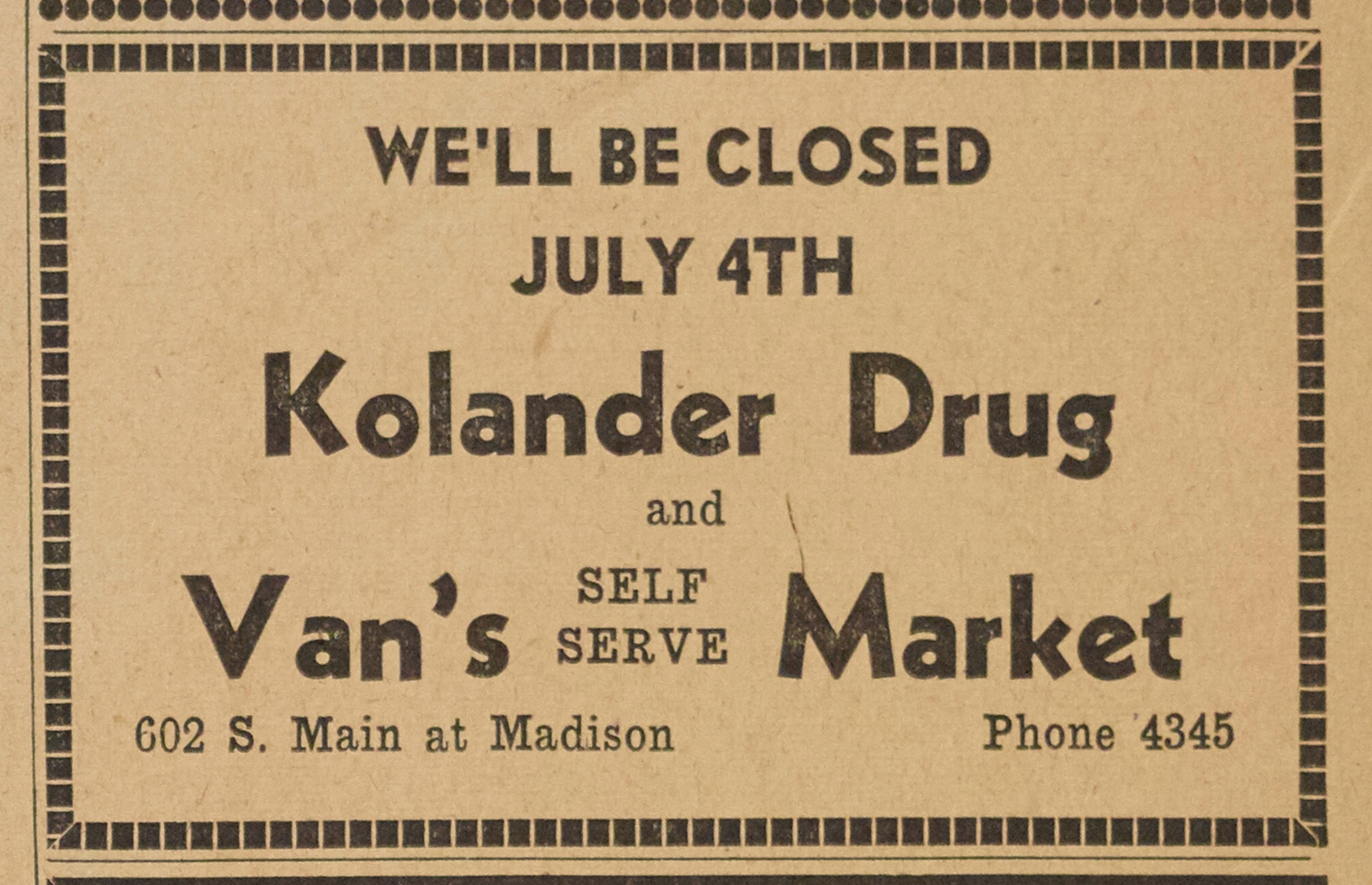 Kolander Drug and Van's Market image