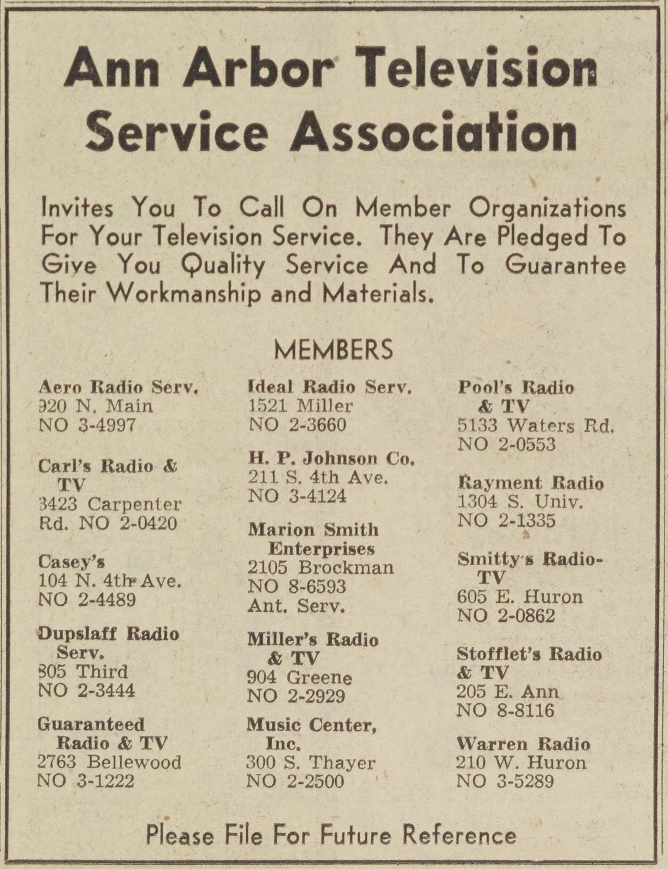 Ann Arbor Television Service Association image