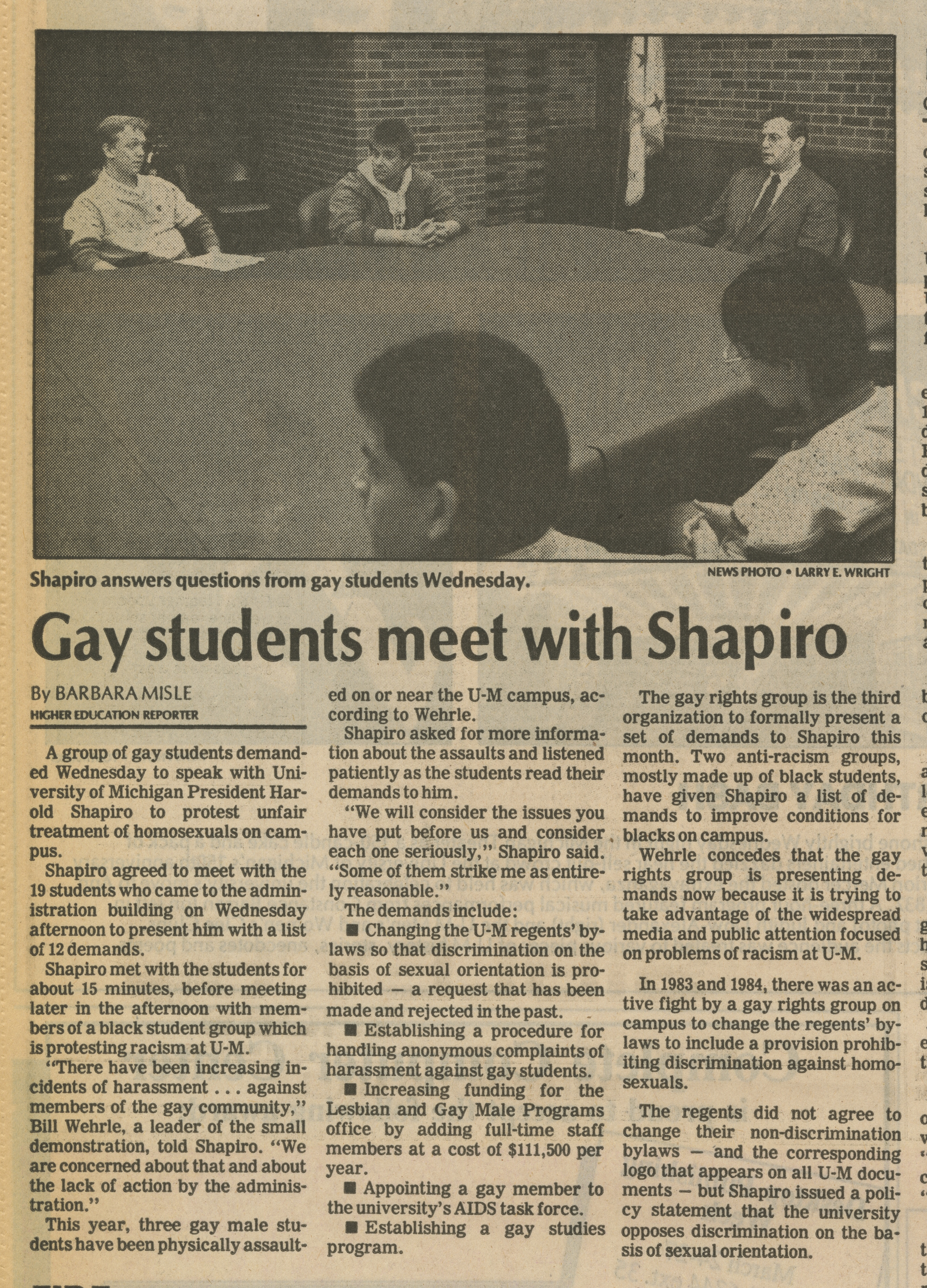 Gay students meet with Shapiro image